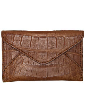 Lucchese Men's Cognac Crocodile Business Card Case, Cognac, hi-res