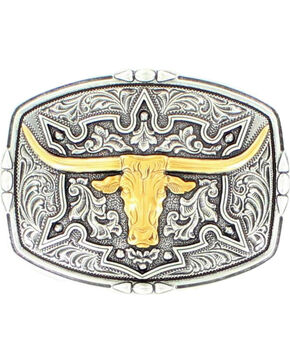 Nocona Floral Longhorn Buckle, Assorted, hi-res