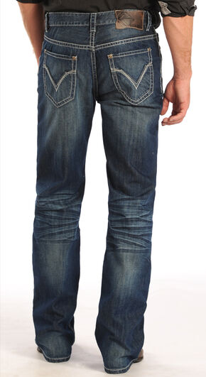 Rock and Roll Cowboy Double Barrel Ivory Pocket Jeans - Straight Leg  , Denim, hi-res
