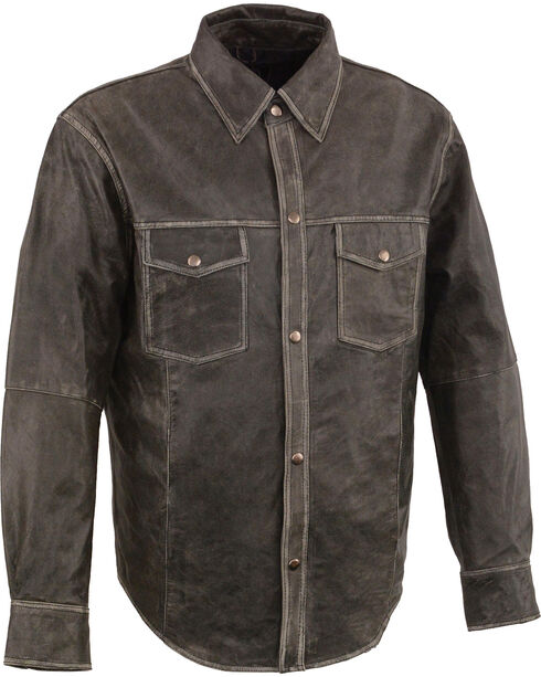 Milwaukee Leather Men's Grey Lightweight Leather Shirt , Grey, hi-res