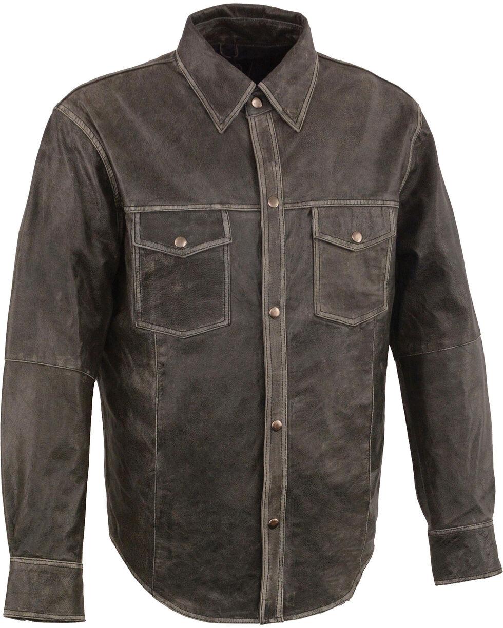 Milwaukee Leather Men's Grey Lightweight Leather Shirt - Big 5X , Grey, hi-res