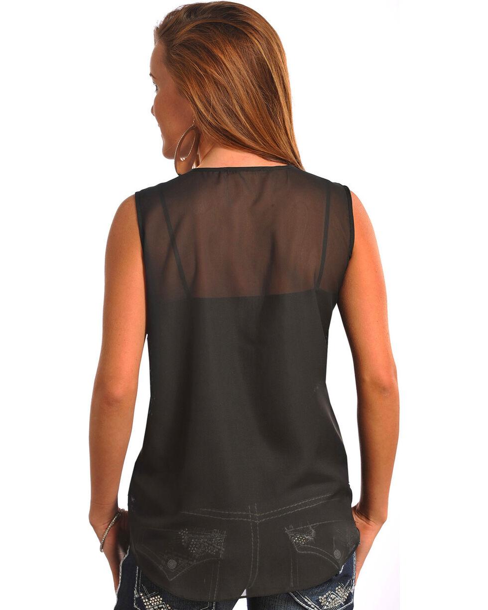 Rock & Roll Cowgirl Women's Black Sequin Georgette Tank Top , Black, hi-res
