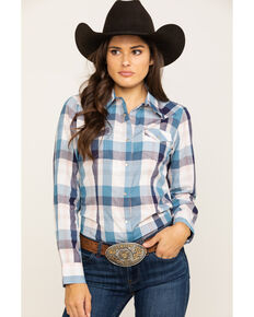 As Real As Wrangler Women's Blue Plaid Snap Long Sleeve Western Shirt, Multi, hi-res