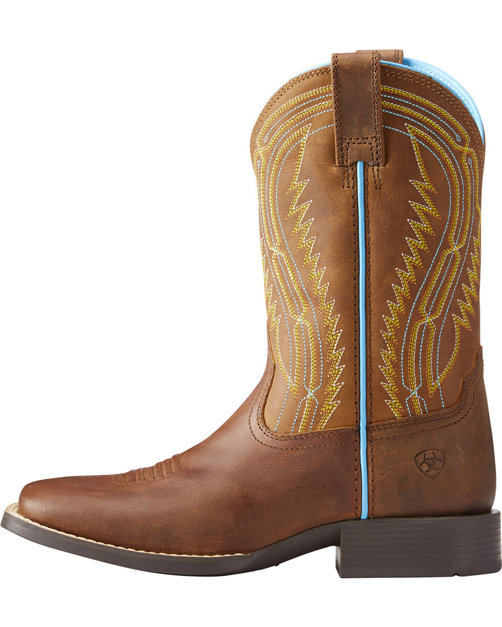 Ariat Boys' Chute Boss Distressed Brown Cowboy Boots - Square Toe, Brown, hi-res