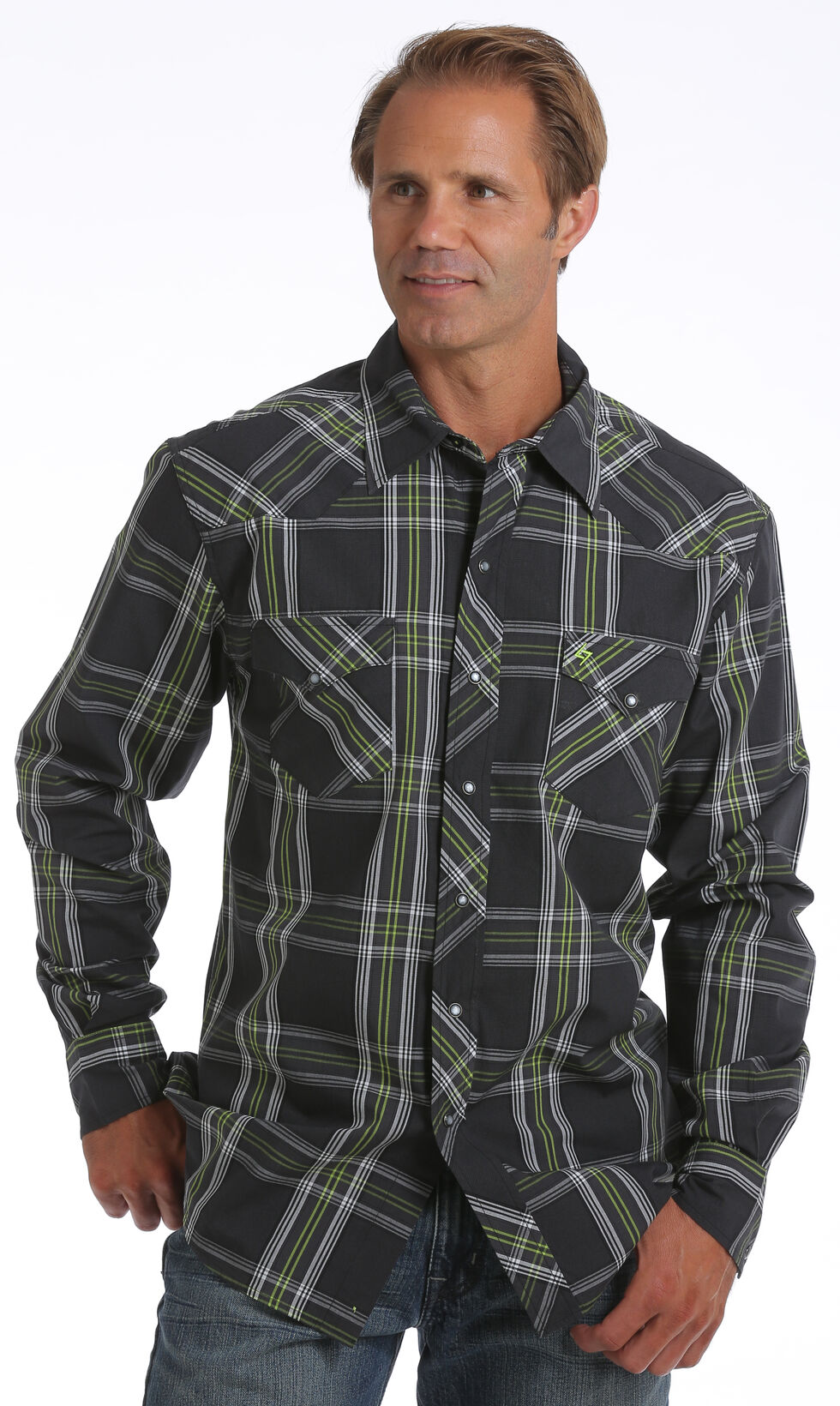 Garth Brooks Sevens by Cinch Men's Black Plaid Print Western Shirt, Black, hi-res