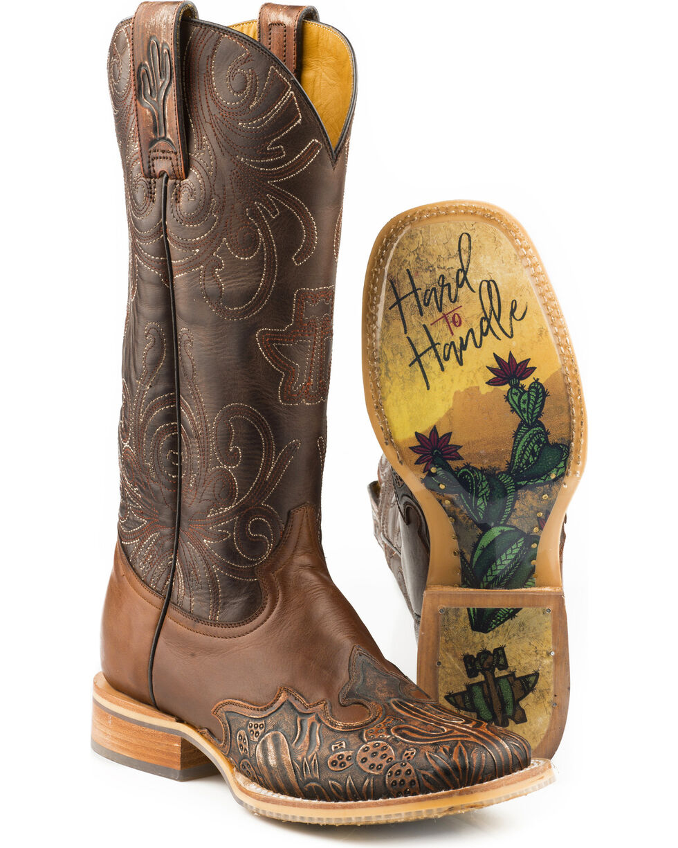 Tin Haul Men's Cactooled Hard To Handle Sole Cowboy Boots - Square Toe, Brown, hi-res