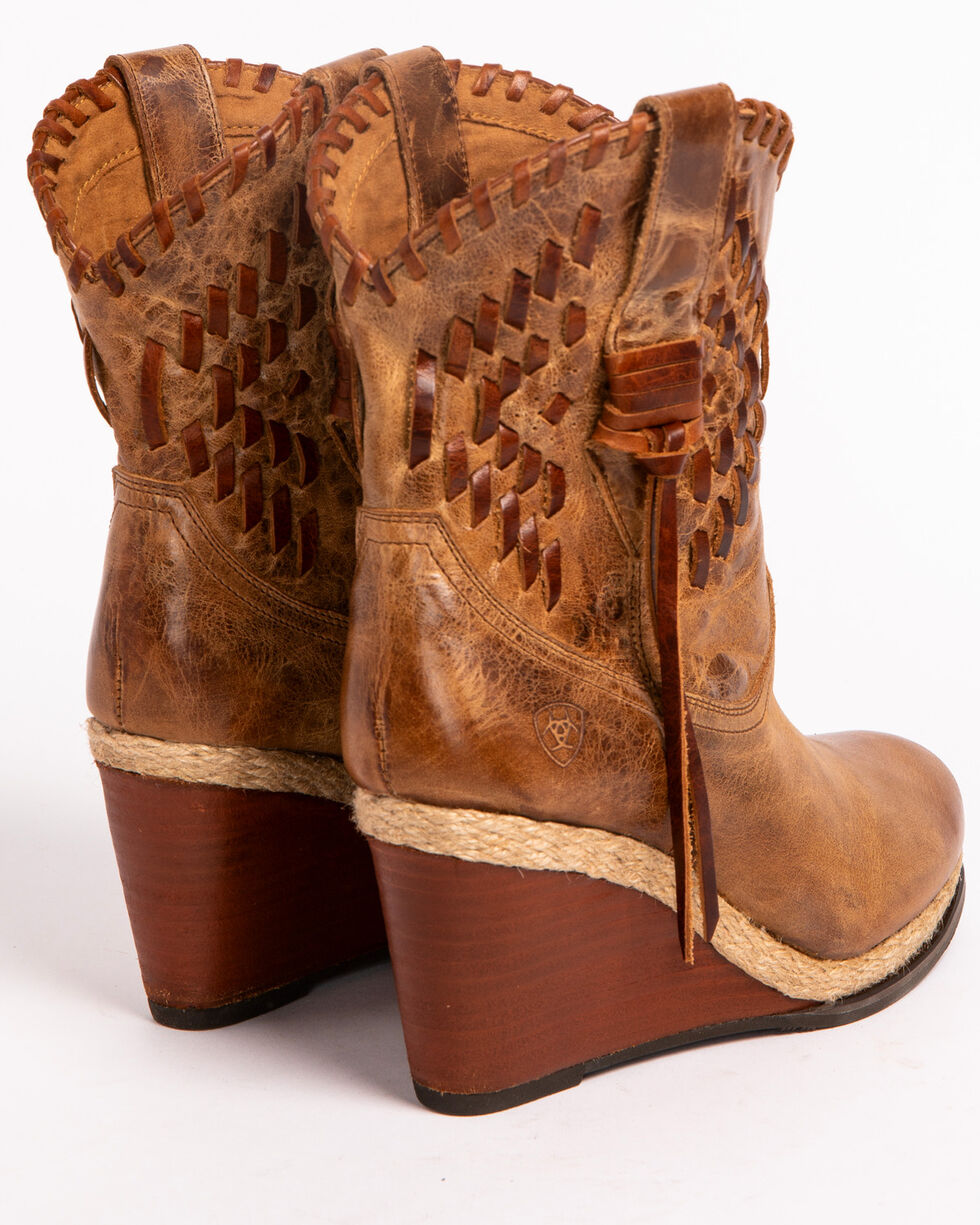 Ariat Women's Tan Opry Crackled Leather Boots - Round Toe , Tan, hi-res