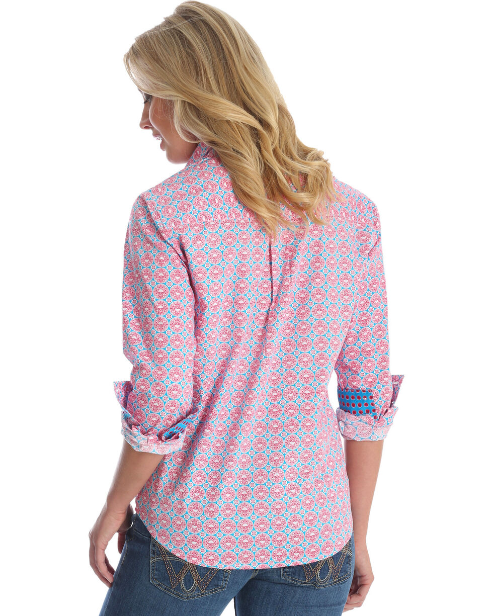 Wrangler Women's Pink George Strait Printed Shirt , Multi, hi-res