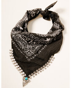 Idyllwind Women's Cowgirl Bandit Scarf Necklace, Black, hi-res