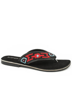 Roper Women's Beaded Strap Sandals, Black, hi-res