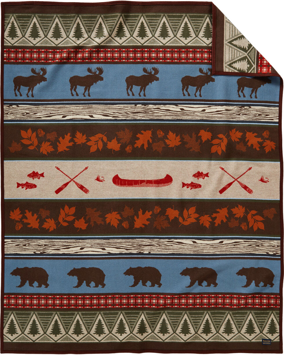 Pendleton Brown Pine Lodge Robe Blanket , Brown, hi-res