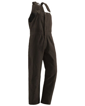 Berne Women's Washed Insulated Bib Overalls - Regular, Dark Brown, hi-res