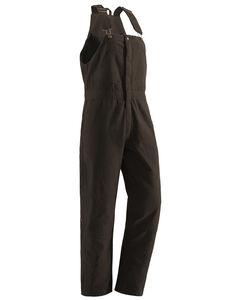 Berne Women's Washed Insulated Bib Overalls - 3X & 4X Reg., Dark Brown, hi-res