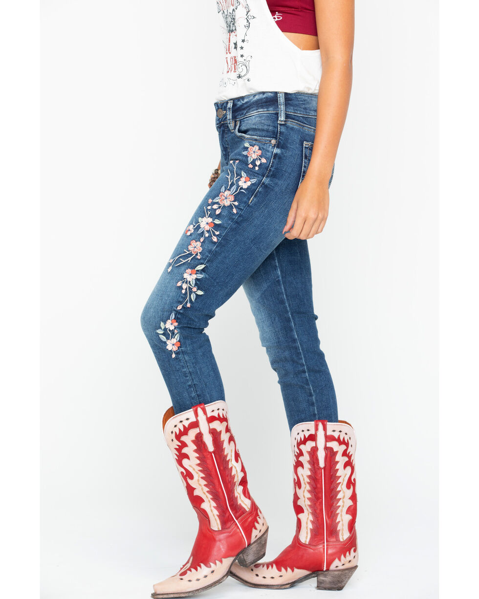 Silver Women's Elyse Floral Embroidered Skinny Jeans , Indigo, hi-res