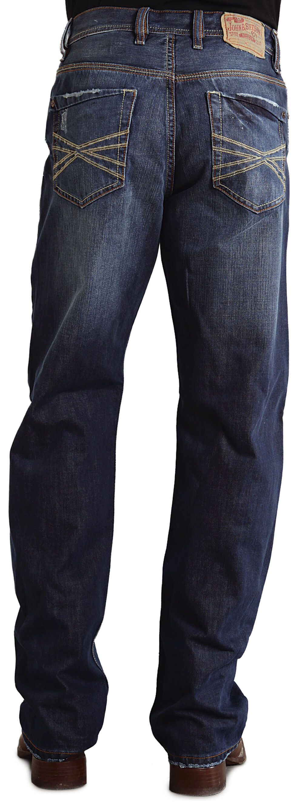 "Stetson 1520 Fit Contrasting ""X"" Stitched Jeans, Dark Stone, hi-res"