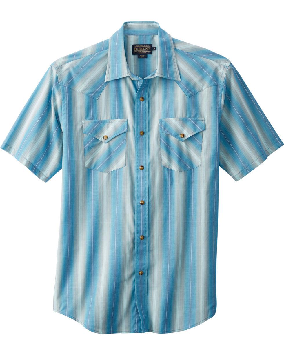Pendleton Men's Frontier Short Sleeve Shirt , Light Blue, hi-res