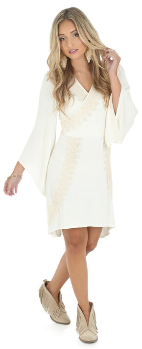 Wrangler Rock 47 Women's Flutter Sleeve Faux Wrap Dress, Vanilla, hi-res