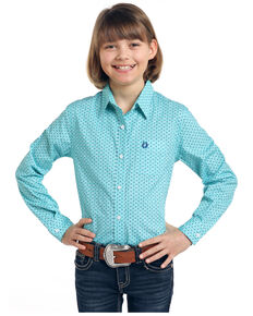 Rough Stock by Panhandle Girls' Turquoise Button Vintage Print Long Sleeve Western Shirt , Turquoise, hi-res