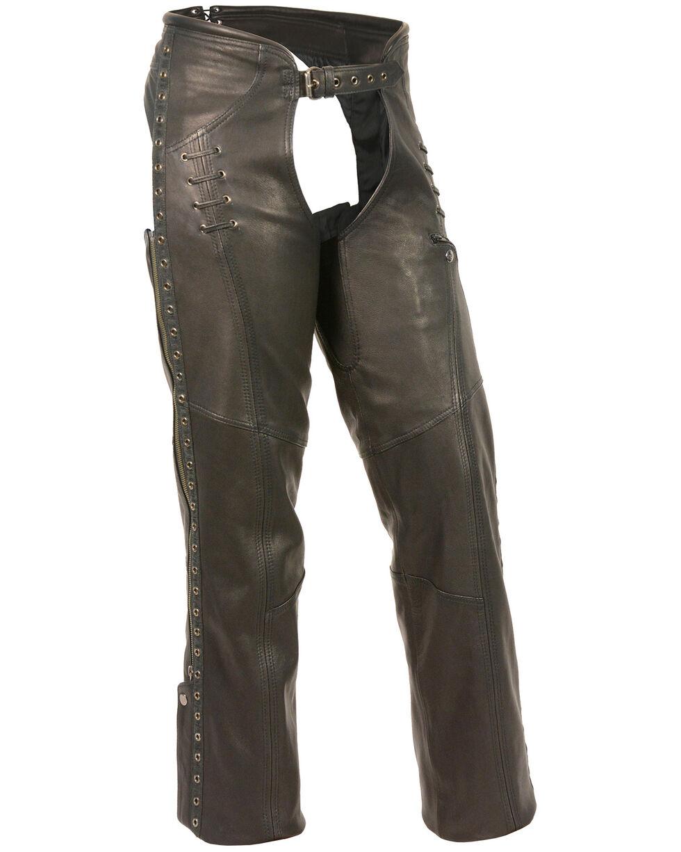 Milwaukee Leather Women's Lace & Grommet Lightweight Hip Set Chaps, Black, hi-res