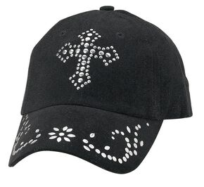 Studded Cross Cap, Black, hi-res