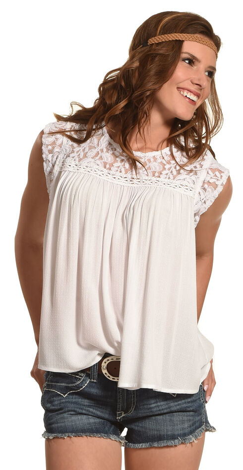 Ariat Women's Lace Detail Candy Top , White, hi-res