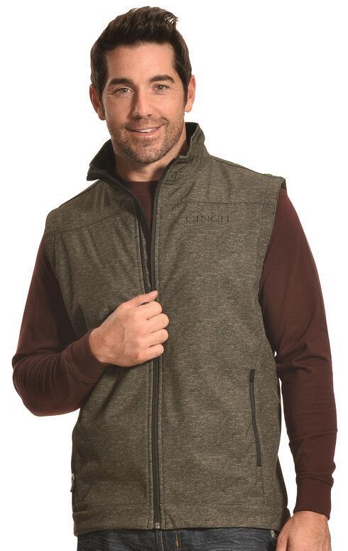 Cinch Men's Olive Bonded Softshell Vest , Olive, hi-res