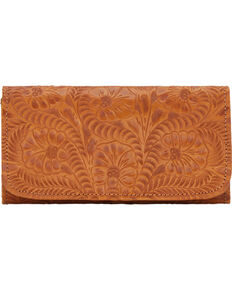 American West Women's Tri-Fold Wallet with Snap Closure, Tan, hi-res