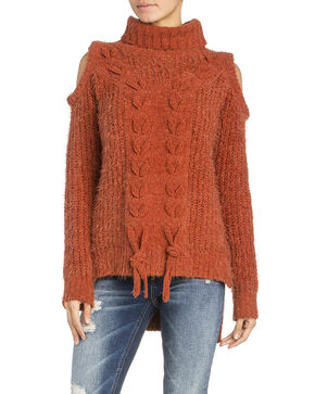 Miss Me Braided Front Rust Cold Shoulder Sweater, Rust Copper, hi-res