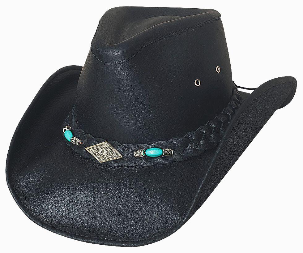 Bullhide Royston Leather Cowboy Hat, Black, hi-res
