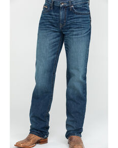 Cinch Men's Grant Medium Stone Wash Relaxed Bootcut Jeans , Indigo, hi-res