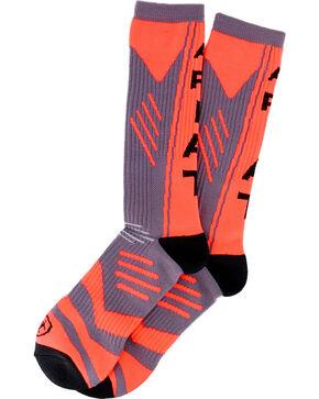Ariat Men's Orange Performance Calf Length Socks , Orange, hi-res
