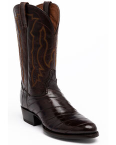 Dan Post Men's Chocolate Eel Western Boots - Round Toe, Chocolate, hi-res
