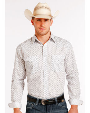 Panhandle Slim Men's White Stablecrest Vintage Print Long Sleeve Shirt , White, hi-res