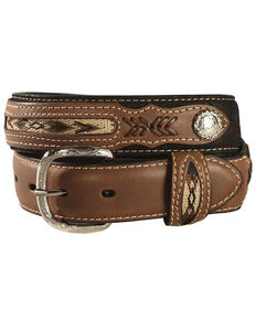 Nocona Kids' Inset & Concho Adorned Leather Belt - 18-28, Black, hi-res