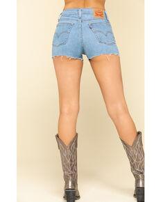Levi's Women's High Rise Medium Wash Raw Hem Shorts, Blue, hi-res