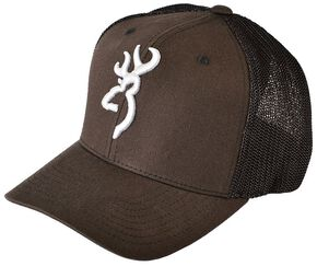 Browning Men's Buckmark Logo Flex Fit Cap, Brown, hi-res