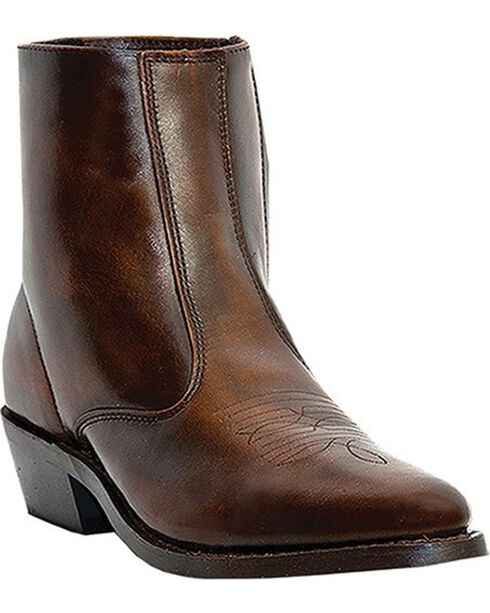 Laredo Long Haul Zipper Western Boots - Round Toe, Brown, hi-res
