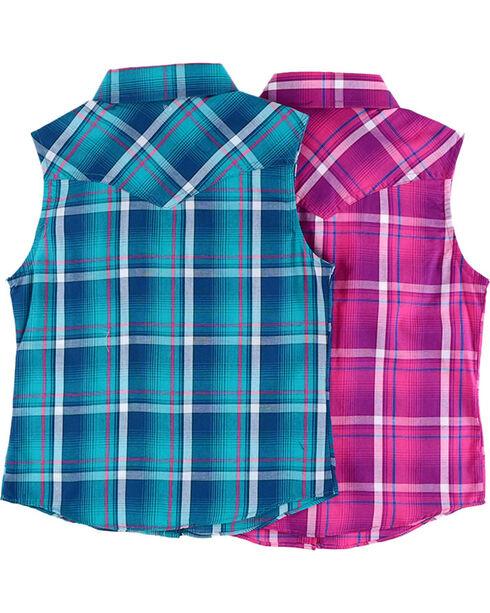 Cumberland Outfitters Girls' Plaid Sleeveless Shirt , Multi, hi-res