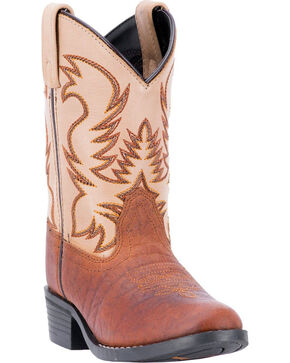 Dan Post Youth Boys' Buckeye Two Tone Western Boots - Square Toe, Rust Copper, hi-res