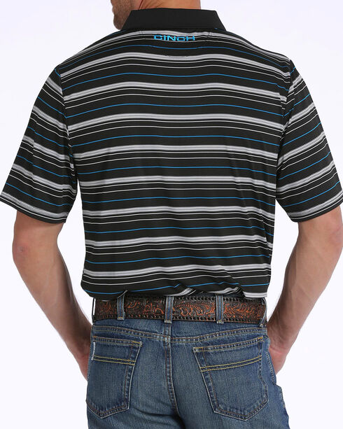 Cinch Men's ArenaFlex Striped Tech Polo, Black, hi-res