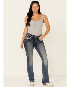 Grace in LA Women's Tribal Feather Bootcut Jeans, Blue, hi-res