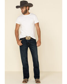 Rock & Roll Denim Men's Dark Double Barrel Reflex Stretch Relaxed Straight Jeans , Indigo, hi-res