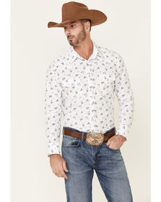 Rock & Roll Denim Men's Vintage 46 White Floral Print Long Sleeve Snap Western Shirt , White, hi-res