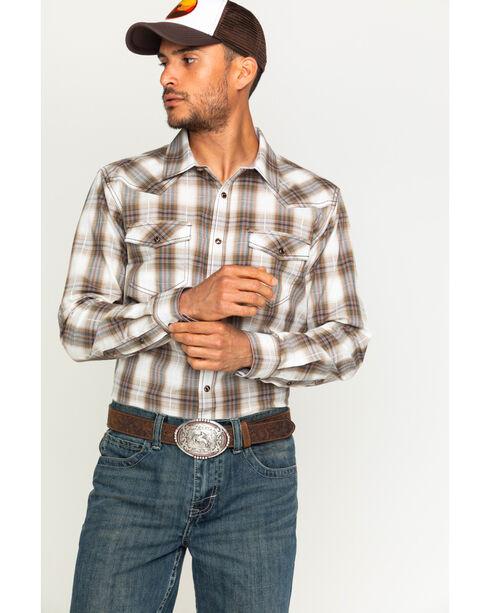 Cody James Men's Plaid Long Sleeve Shirt, Brown, hi-res
