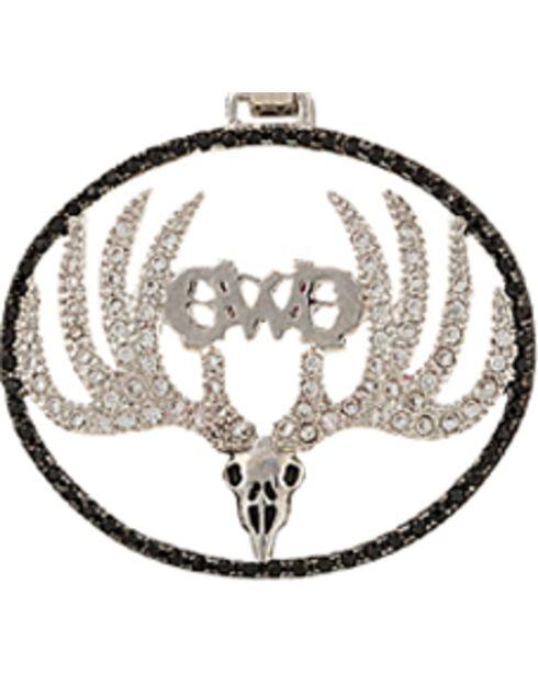 Girls With Guns Sparkling Antlered Skull Necklace, Silver, hi-res