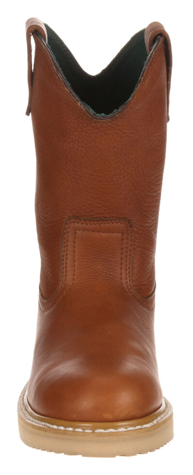 Georgia Farm and Ranch Wellington Work Boots - Round Toe, Gold, hi-res