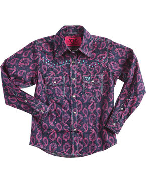 Cowgirl Hardware Girls' Two Tone Paisley Crystal Yoke Long Sleeve Snap Shirt, Black, hi-res