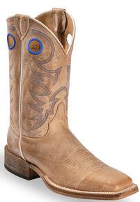 Justin Mens Bent Rail Cowboy Boots Square Toe Beige Hi Res