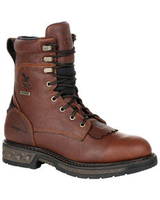 Georgia Boot Men's Carbo-Tec LT Waterproof Lacer Work Boots - Soft Toe, Brown, hi-res