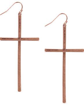 Shyanne Women's Bronze Cross Earrings, Bronze, hi-res